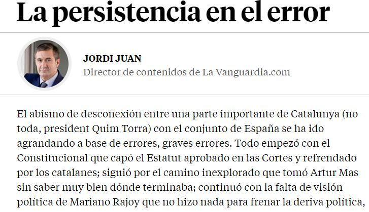 'La persistencia en el error', columna de Jordi Juan en 'La Vanguardia'