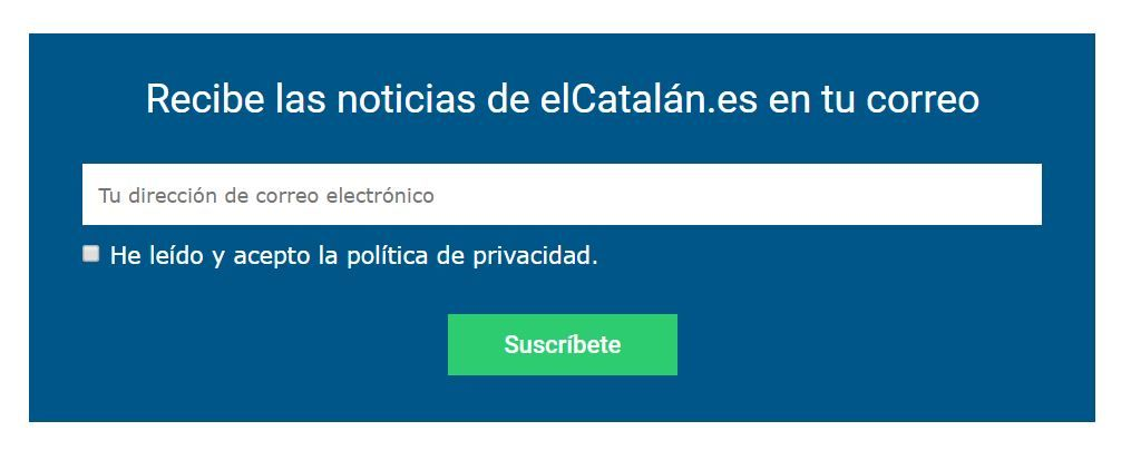 Imagen boletín de suscripción de titulares de elCatalán.es