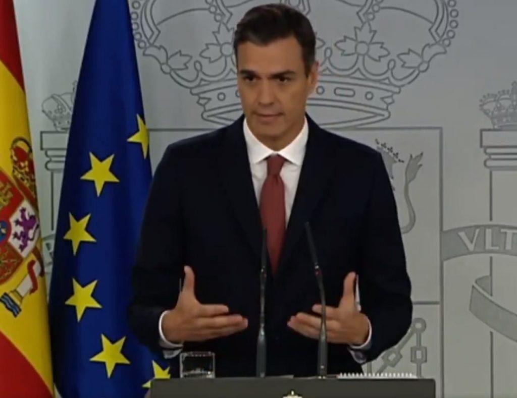 Pedro Sánchez en el atril