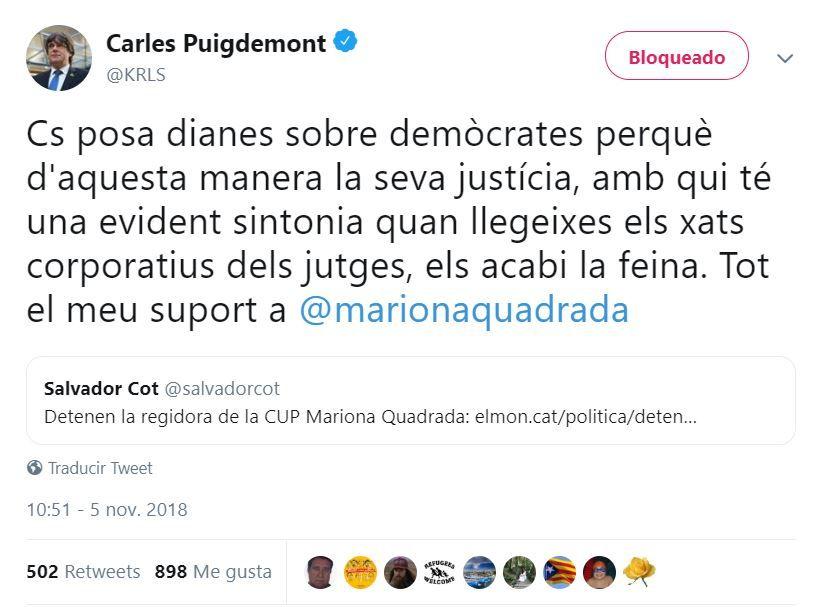 Tuit de Carles Puigdemont sobre Mariona Quadrada, concejal de la CUP en Reus