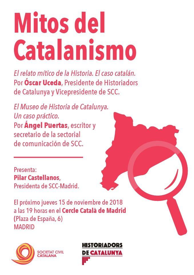 Cartel de la conferencia sobre Mitos del Catalanismo,  a cargo de Óscar Uceda