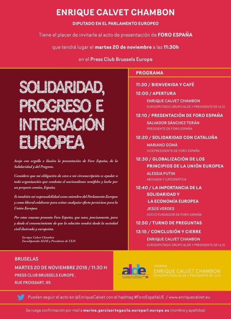 Cartel presentación Foro España en Bruselas