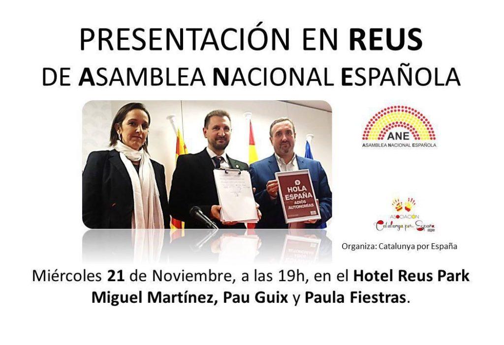 Cartel de la presentación de la Asamblea Nacional Española en Reus