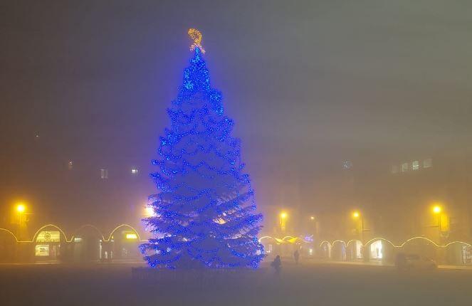 Lazo amarillo árbol Navidad de Vic